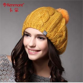 帽_正品kenmont帽子秋冬季帽子女士帽子 女贝雷帽 女毛线帽针织帽套头帽