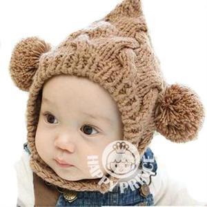 双球毛线精灵帽婴儿童帽子宝宝帽子保暖可爱