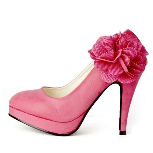 高跟防水台婚鞋花朵甜美公主新娘鞋白色可爱婚纱鞋