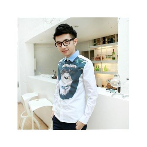2013秋季款andrea pompilio大猩猩数码动物印花衬衫男