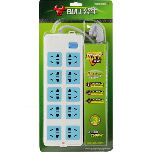 bull/公牛 插座 接线板 插排 插线板 拖插板 gn-110 3米 双排 一控十