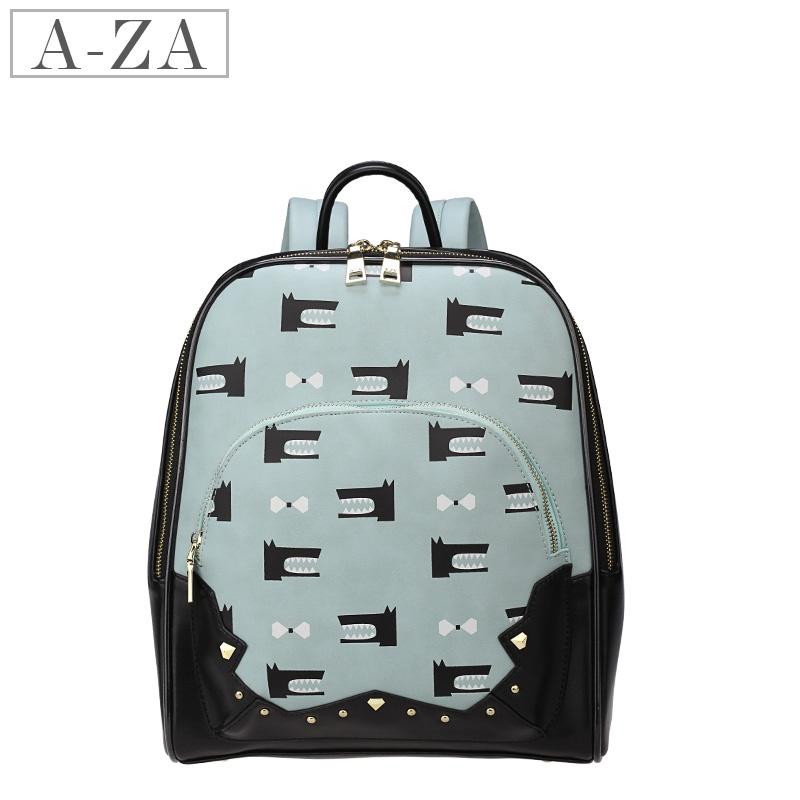 aza女双肩包 2014新款包包 时尚俏皮可爱卡通印花铆钉 大背包3590图片