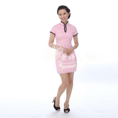 米娅2012夏装新款花边滴水领改良低领性感短旗袍连衣裙