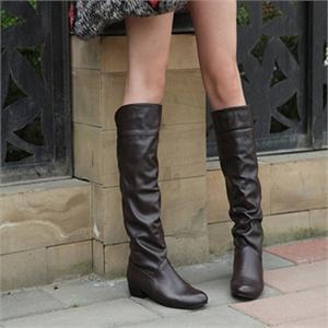 女士春秋舒适内增高女靴休闲款中坡跟靴子淑女高筒