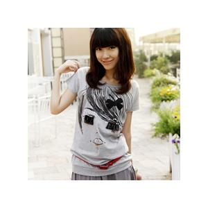 可爱卡通百搭韩版时尚ng夏装卡通女孩头像中长款短袖