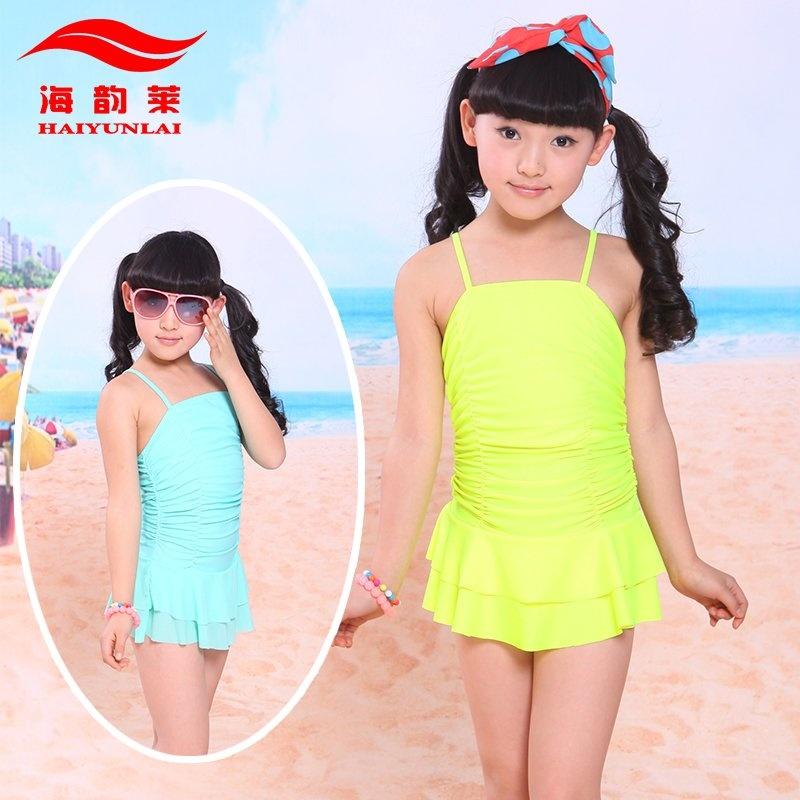 海韵莱 新款儿童泳衣 连体三角可爱女孩糖果色 5126
