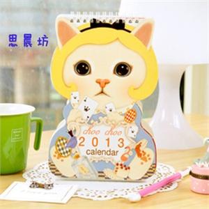 日韩国时尚可爱猫咪/造型站立式diy台历/日历
