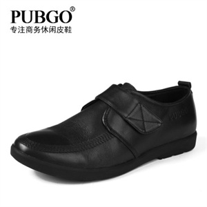 Pubgo千禧步步高正品男士皮鞋 软牛皮商务休闲鞋 橡胶底正装鞋M124028