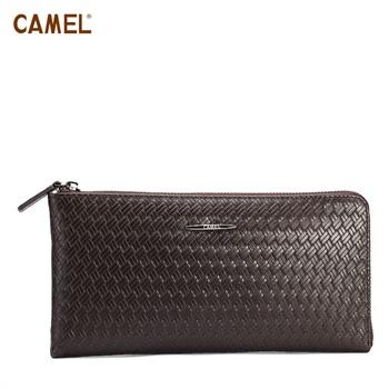 camel骆驼 正品 牛皮编织 欧美时尚 男式 手拿包 mt018123