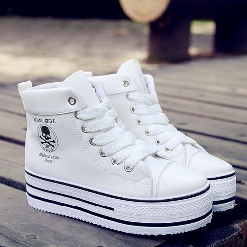韩版潮骷髅头厚底松糕高帮系带帆布鞋女鞋
