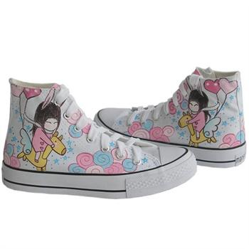 城市公主 韩版小女孩可爱插画手绘鞋 中学生帆布鞋女z-b1006漫儿手绘