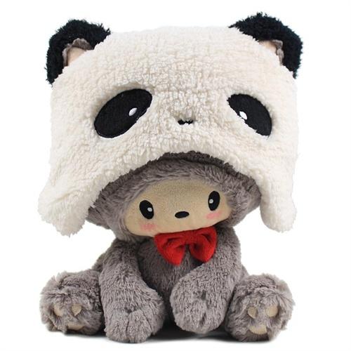luckycat幸运猫公仔 创意毛绒玩具可爱娃娃玩偶 生日礼物_灰色大眼