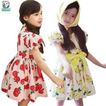 2015新款儿童女大童可爱水果连衣裙春秋女孩公主裙子