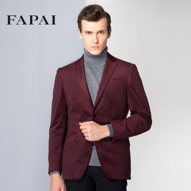时尚男士休闲西装商务小西装男修身灯芯绒酒红西服