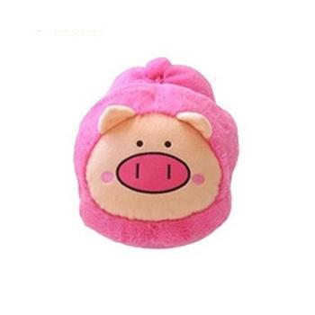 吉满双十一 粉色猪头毛绒全包暖脚宝电暖鞋usb暖脚鞋电热鞋 可拆洗 大