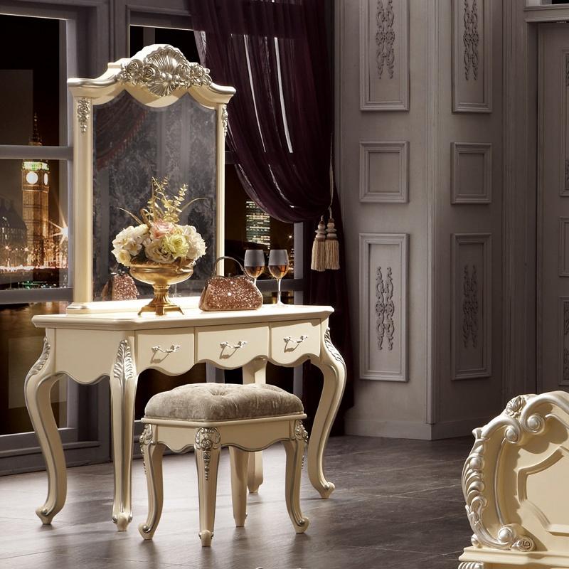 鹏景雅居 欧式梳妆台桌带镜子 法式实木化妆柜卧室家具韩式田园 h33