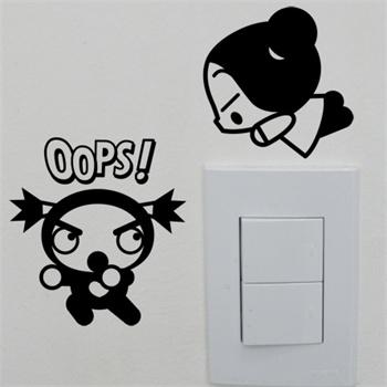 中国娃娃之小淘气开关贴新饰线墙贴防水卫生间电视