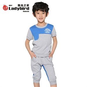 【货到付款】瓢虫之家童装2014夏季新品 男童纯棉休闲运动套装