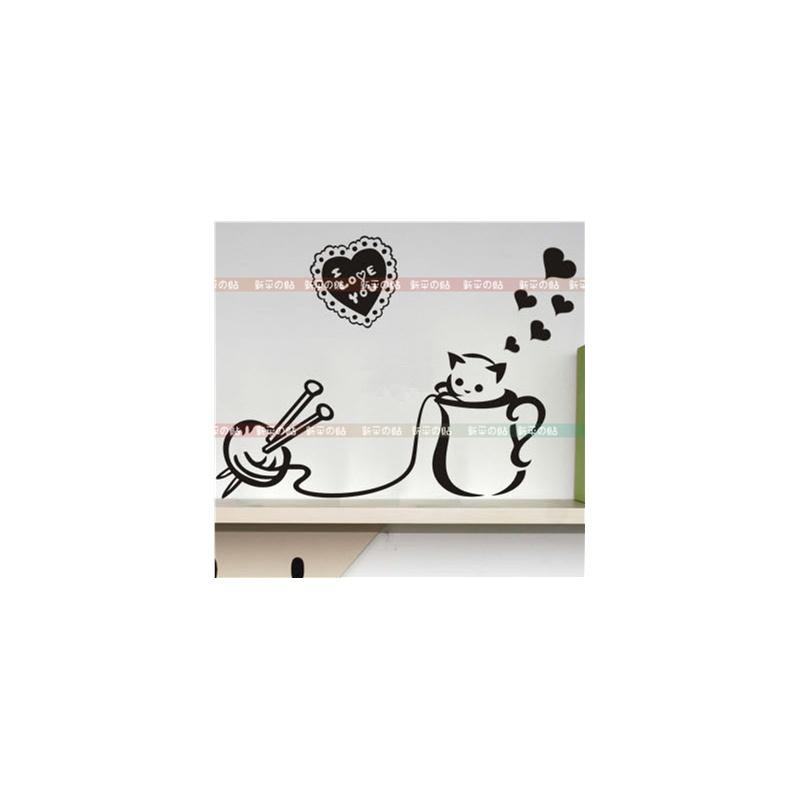 [新饰线墙贴]特惠~茶杯和小猫 可爱衣柜韩国墙贴纸背景儿童