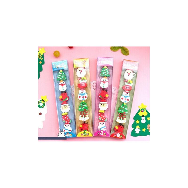 韩国款创意文具可爱圣诞橡皮擦 超可爱6块装圣诞老人型橡皮 铅笔擦 学