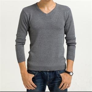 2014男士春装装新款纯色毛衣男 打底男装V领针织衫 &JW-12005