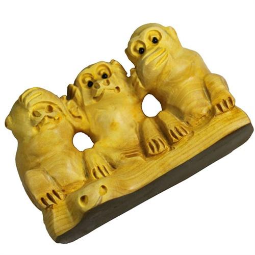 三不猴木雕图片