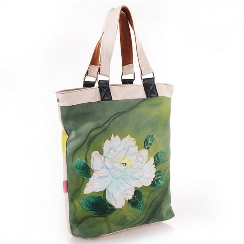 中国风牡丹工笔画彩绘时尚单肩帆布包 diy个性涂鸦帆布包 涂鸦休闲包