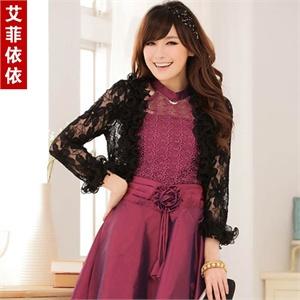 艾菲依依 韩版2014夏装新款女装大码蕾丝空调衫木耳边披肩长袖婚纱礼服小外套A4735