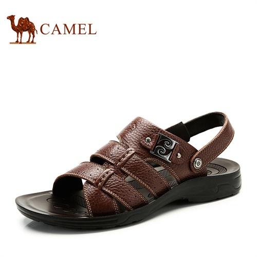 CAMEL 骆驼凉鞋 新款透气休闲鞋头层牛皮沙滩鞋正品透气男凉鞋