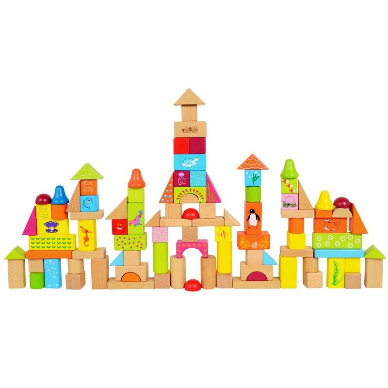 全家欢 木制玩具 100粒海洋动物积木 益智趣味qjh-7012