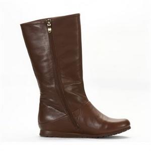 天美意teenmix 2010冬季咖啡色软牛皮女靴