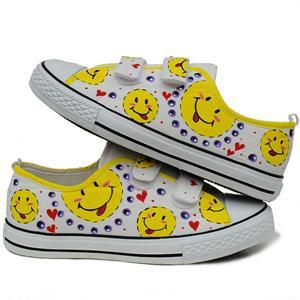 城市公主 笑脸系列手绘儿童鞋 涂鸦鞋帆布鞋