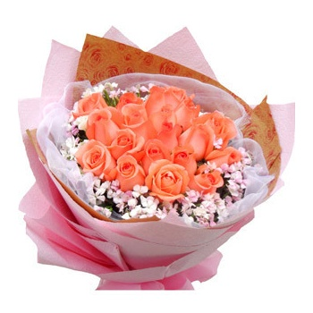粉色皱纹纸圆形包装,粉色绵纸托底