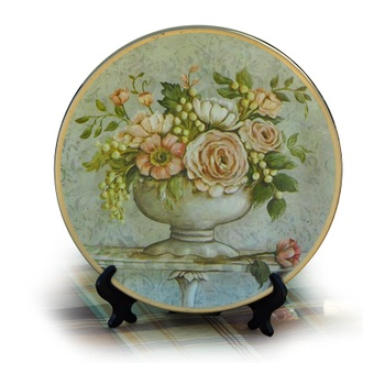 欧式田园花朵装饰盘