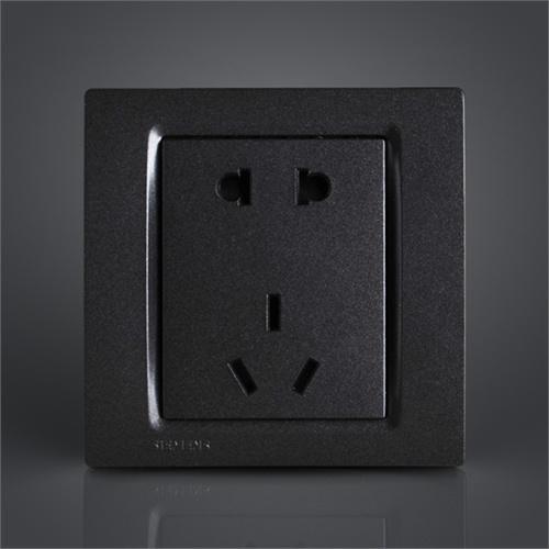 西门子开关插座灵动金属黑色五孔电源插座面板