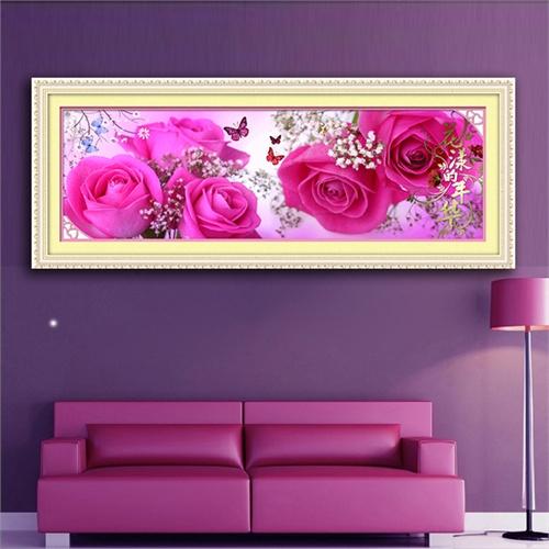 精準印花5d鉆石畫貼圓鉆十字繡最新款玫瑰客廳大幅