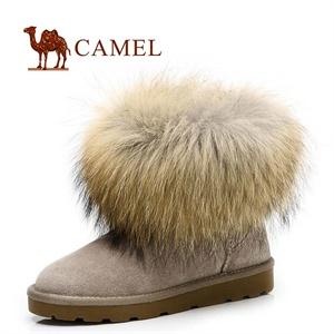 CAMEL 骆驼 超保暖反绒狐狸皮草厚毛内里雪地靴81502605