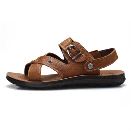 PLO-CART 保罗盖帝 夏季休闲舒适牛皮男士沙滩凉鞋