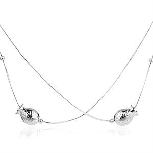 张银匠 S925纯银双层小鱼项链 蛇骨链 接吻鱼