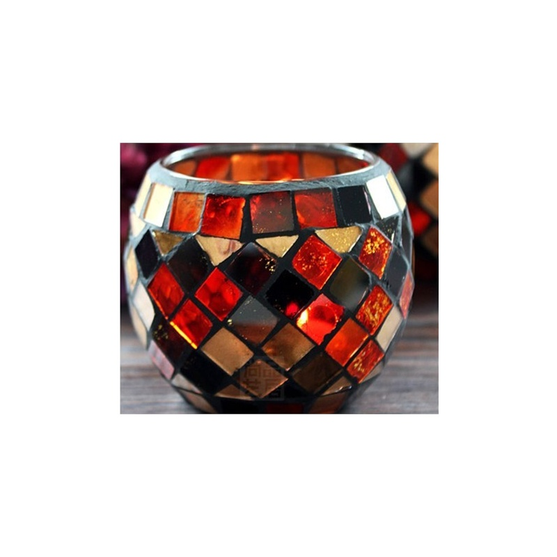【b摆饰/挂件】b 欧式橙金纯手工马赛克玻璃烛台价格