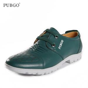 Pubgo新款男士皮鞋 潮流日常休闲鞋 时尚系带牛皮驾车鞋M10234