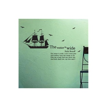 [新饰线墙贴]宽阔的海水 帆船电视背景墙壁纸贴纸韩国卫生间贴画