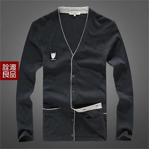 诠渡良品 春装外套 男士休闲 logo胸标卫衣英伦开衫针织衫 td326