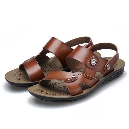 Plo-cart 保罗盖帝舒适蜡感两穿沙滩凉鞋