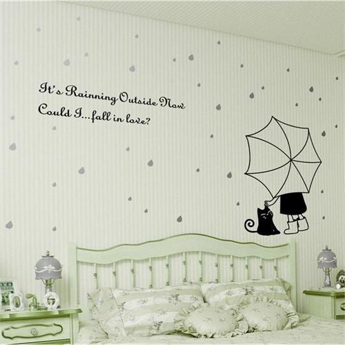 猫伞卧室床头墙贴纸背景墙贴画