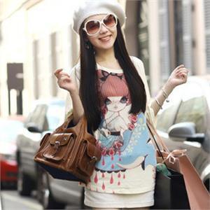 女孩图案手绘t恤