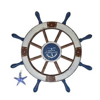地中海风格装饰 手工美式地中海风格 创意船舵壁挂 复古做旧舵手 工艺
