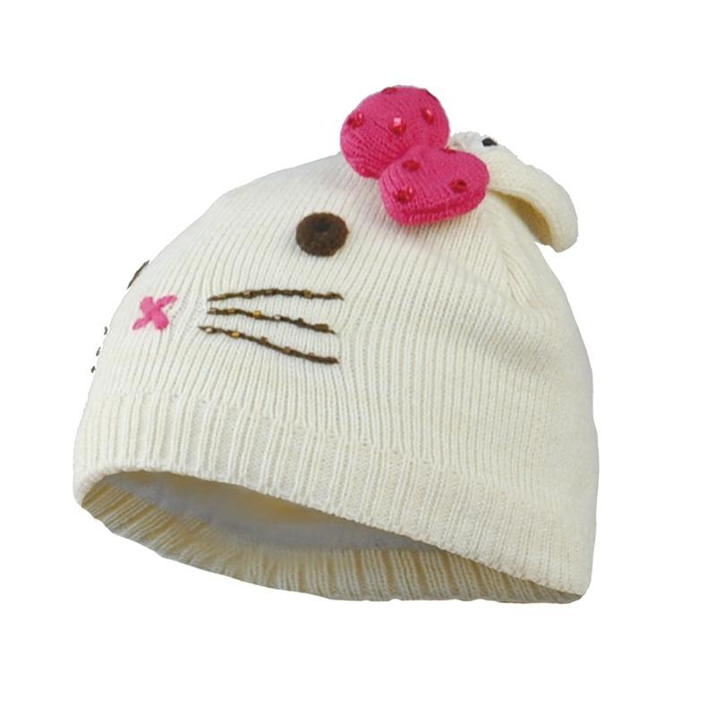 正品kenmont儿童帽子 新品儿童毛线帽冬帽 可爱小花猫帽子km-4824
