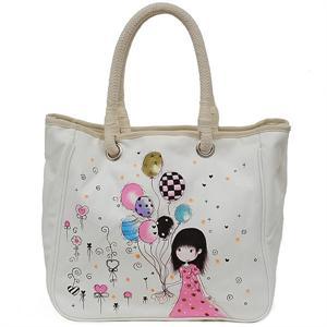 漫儿 韩版手绘涂鸦时尚环保购物袋~麻绳提手帆布包f-b
