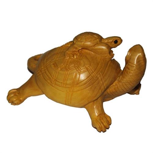 星宏紫顺 精品黄杨木木雕 龟 手把件 小摆件 母子同富贵 辈辈长寿